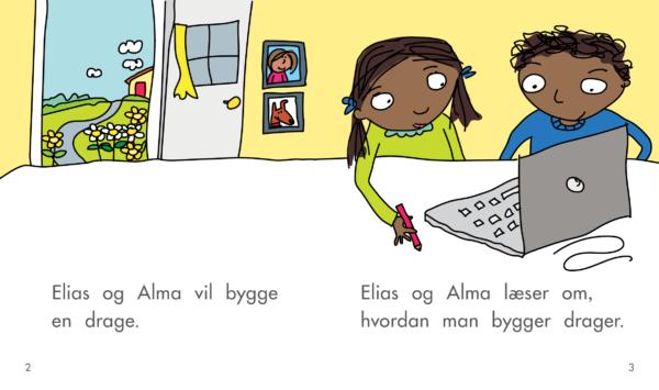 Elias og Alma bygger en drage opslag